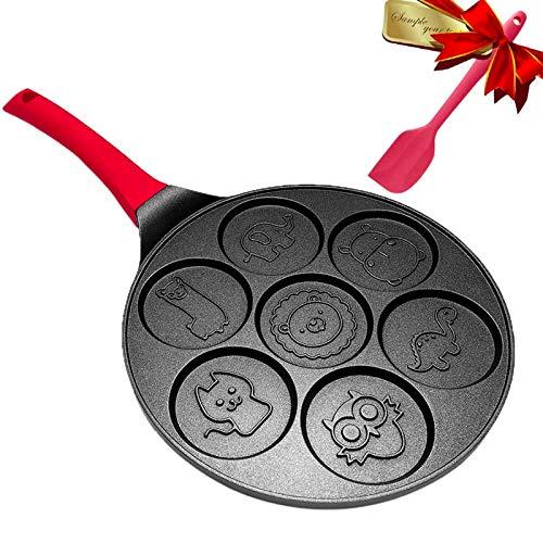 Pancake Maker Pan - Griddle Pancake Pan Molds for Kids Nonstick Pancake Griddle Crepe Pan with 7 Animal Shapes - Black, DAYOOH