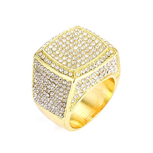 Hip Hop Bling Empire Silver Gold Rings for Men Iced Out diamond Rings Size 8 9 10 11 12 (Ring 1-Gold, 9)