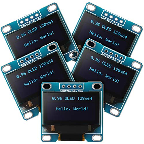 5 Stücke 0,96 Zoll OLED Modul 12864 128x64 SSD1306 Treiber IIC I2C Serien Selbstleuchtenden Anzeige Board Kompatibel mit Arduino Raspberry PI (Blau)