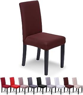 SaintderG® Stuhlhussen 6 Stück Elastische Moderne Beschützer Stuhlhussen, Hochzeit Partys Bankett Deko, bi-Elastic Spannbezug, sehr pflegeleicht und langlebig Universal (Braun, 6 Stück)
