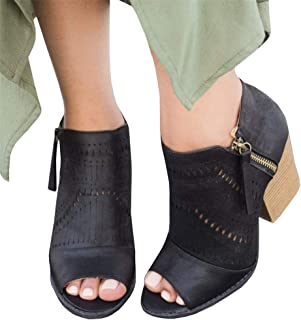 Womens Peep Toe Ankle Booties Chunky Laser Cut Slip on Block High Heel Zip Boots