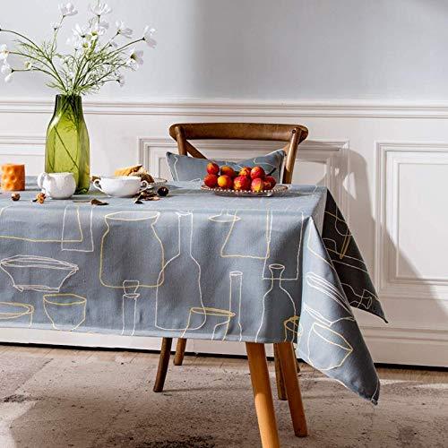 Creek Ywh tafelkleden tafelloper feesttafelkleed Nordic tafelkleed katoen linnen salontafel ovaal tafelkleed modern minimalistische landelijke tv-kast tafelkleed, grijs-blauw, 130 * 2