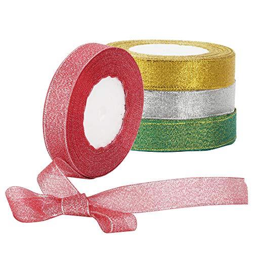 CINMOK 4Roll Weihnachten Geschenkband Set 100Yard Gold Schleifenband Silber Organza Band Goldenes Band Rot Grün Dekoband Metallic Goldband Bastel für Geschenk Verpackung Dekoration
