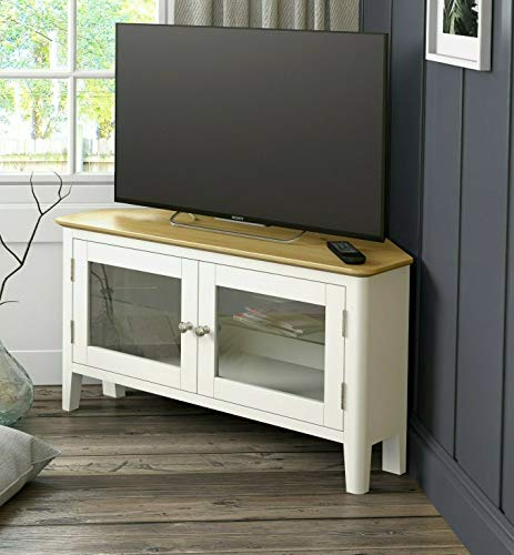 Elwick Cream Painted Corner TV Unit / Modern Painted Media Cabinet / TV Stand