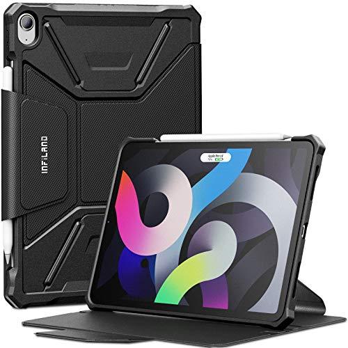 INFILAND Hülle für iPad Air 4 2020, iPad Air 4 Hülle, Einzigartig Mehreren Winkeln Schutzhülle Tasche für iPad Air 10.9 Inch 2020(4. Generation), Auto Schlaf/Wach,Schwarz