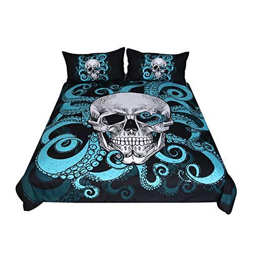 AmenSixye Floral Skull Bedding Set King Duvet Cover 3pcs Sugar Skull Gothic Bedlinen Flowers Black White Euro Bed Cover Set,AUK220x240cm(3pcs)