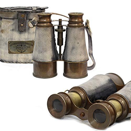 Vintage diseño de prismáticos de piel auténtica antiguo gris caja Nautical Collection-Regalos de Navidad