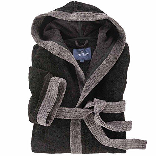 bugatti Homewear Weicher Softvelours-Bademantel mit Kapuze schwarz_04 4XL