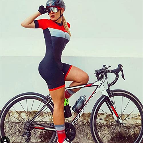 REGJ Abito da Donna Triathlon Triathlon, Jersey in Bicicletta Abbigliamento a Manica Corta con Set di Ciclismo da Donna Gel Pad (Color : Women skinsuit066, Size : XXX-Large)