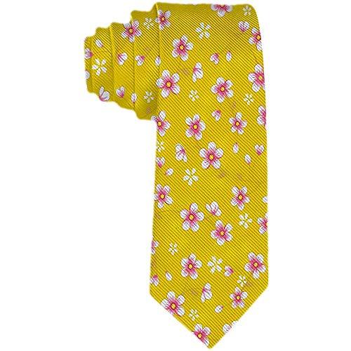 Corbata de flor de cerezo amarillo para hombre Corbata de poliéster Corbatas de jacquard tejidas Corbatas Regalo novedoso para hombre