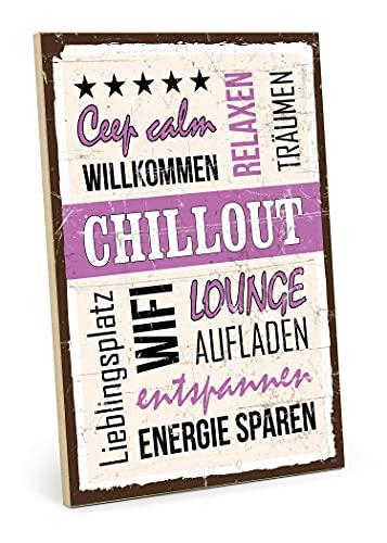 TypeStoff Chillout - Placa de madera con texto en inglés 'Chillout', estilo vintage, regalo y decoración para el lugar favorito