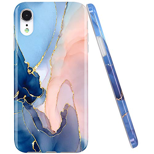 JAHOLAN Compatible iPhone XR Case Gold Glitter Sparkle Marble Design Clear Bumper Glossy TPU Soft Rubber Silicone Cover Phone Case for iPhone XR 2018 6.1 inch Purple