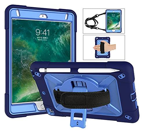 QYiD Funda para iPad Mini 1/ Mini 2 / Mini 3, Funda a Prueba de Golpes Protectora con [Protector de Pantalla] [Porta Lápices] [Hombro de Correa de Mano] [Soporte Giratorio de 360°], Azul Marino/Azul