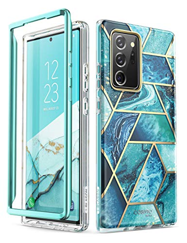 i-Blason Cosmo Series Case Cover Designed for Galaxy Note 20 Ultra 5G (2020 Release), Protective Bumper Marble Design Without Built-in Screen Protector (Ocean)