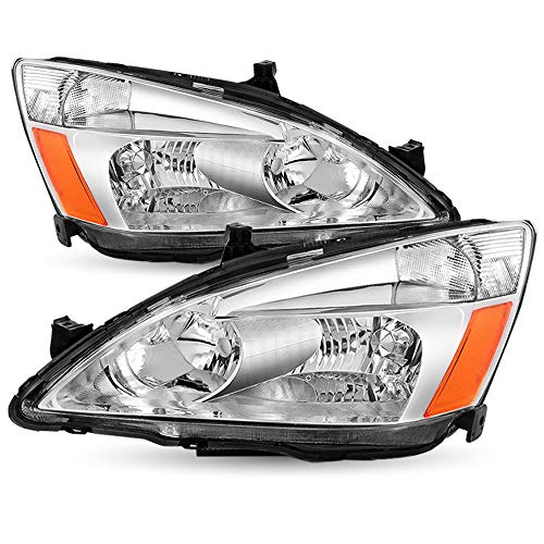 Headlight Assembly Set Replacement for 2003-2007 Honda Accord Chrome Housing Headlamp Driver and Passenger Side Front Lights Pair (Chrome Housing)