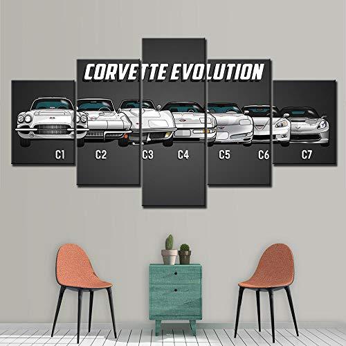Schilderij op canvas Wall Art Home decoratieve kamer HD Gedrukt 5 paneel modulaire foto's Chevrolet Corvette Car Poster-40x60 40x80 40x100cm geen frame