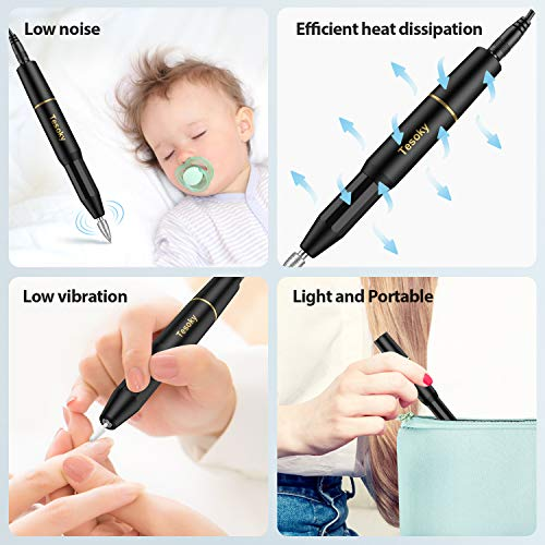 Upgraded Electric Nail Drill Bits Set, Professional Electric Nail File Machine for Acrylic Nails Gel Nails Kit, Portable…