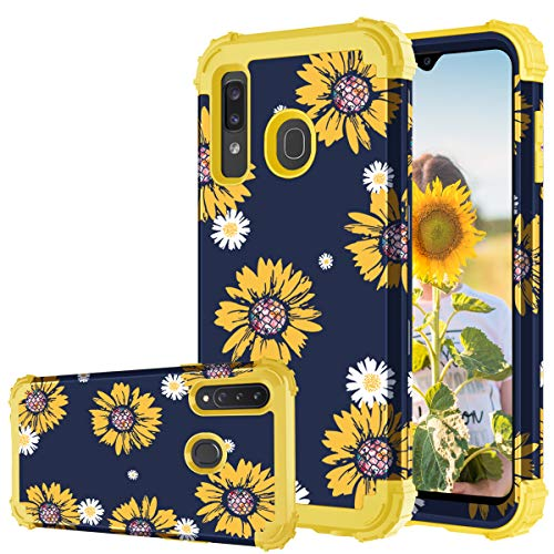 Fingic Samsung A20 Case, Samsung Galaxy A20/A30/A50 Case Sunflower 3 in 1 Heavy Duty Hard PC Soft Silicone Rugged Bumper Full-Body Shockproof Protective Phone Case for Galaxy A50/A30/A20 6.4', Yellow