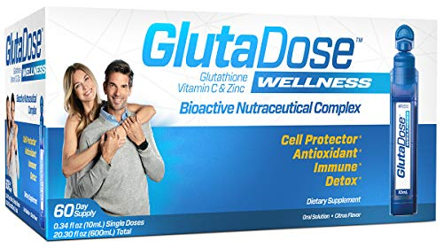 GlutaDose   Detox Every Day   Support Immune Function and Increase Energy   400mg Glutathione+Vitamin C+Zinc   30 or 60 Day Box   Liquid Vials   Made in USA (60 Doses)