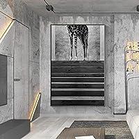 現代のキャンバスウォールアートプリント動物の建物のキャンバス絵画ポスターリビングルームの寝室の通路の装飾のためのユニークな白黒写真-60x90cmフレームなし