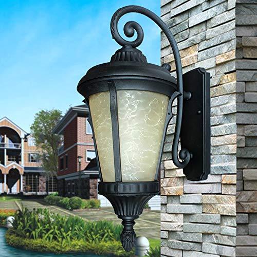 KMYX Lanterne en Verre Imitation de marbre for Le Jardin Antique européen Die Cast boîtier en Aluminium Antirouille Applique Murale Classique E27 Porte après Applique