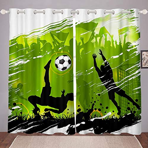 Football Curtains Tie Dye Soccer Ball Window Curtains for Bedroom Living Room Boys Girls Sports Green Window Drapes Competitive Games Window Treatments,W46*L72