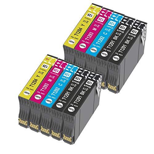 T1295 - Cartucho de tinta compatible con Epson T1292 T1293 T1294 con Epson WorkForc WF-3520 WF-7515 Stylus SX235W SX525WD SX535WD SX420W SX425W SX435W BX635FWD (10x)
