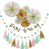 YOU+ 誕生日 飾り付け ガーランド 男の子 女の子 セット 飾り ペーパー バースデー HAPPY BIRTHDAY お洒落 かわいい (ゴールド)