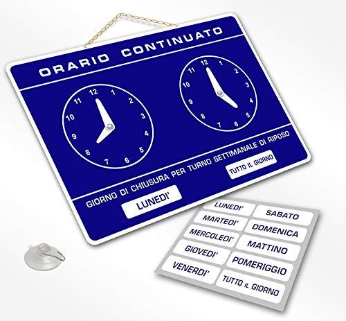 Cartello ORARIO Continuato regolabile apertura negozio studio laboratorio bar (BLU)