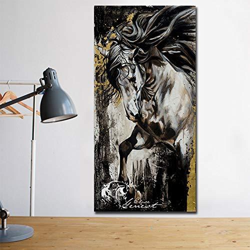 Zwart-wit canvas dier paard schilderij decoratie van het huis poster en gravure afbeelding decoratief wandafbeelding 40X80CM Q