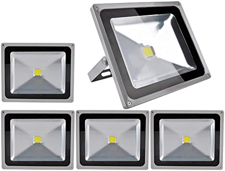 5pcs 50W LED Fluter Floodlight,ALPHA DIMA IP65 Wasserdicht Grau Kaltwei 120° LED Auenstrahler Fluter Flutlicht AC 85-265V Tageslichtwei