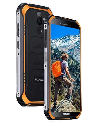 Rugged Outdoor Smartphone Unlocked, DOOGEE S40 LITE Android 9.0, Dual SIM Free 2G/3G Tough Mobile Phone 2GB+16GB, 5.5 Inch Waterproof 4650mAh, 8MP+5MP Dual Rear Cameras Face ID GPS Cellphone, Orange