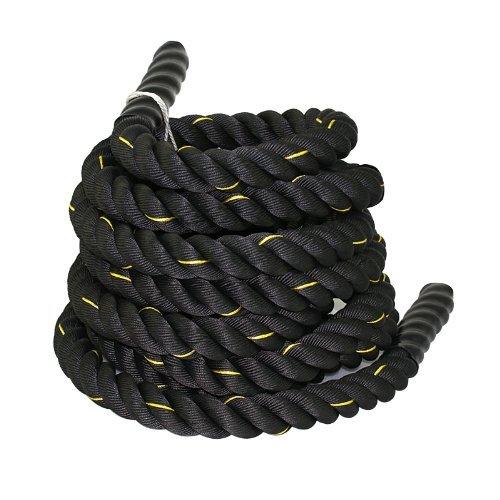 "ZENY Black 1.5""/ 2"" Width Poly Dacron 30/40/50ft Length Battle Rope Workout Training Undulation Rope Fitness Rope Exercise"