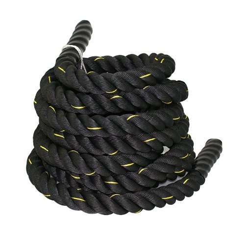 ZENY Black 1.5'/ 2' Width Poly Dacron 30/40/50ft Length Battle Rope Workout Training Undulation Rope Fitness Rope Exercise (2' W x 50'L)