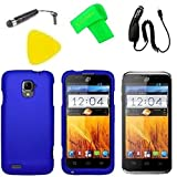 Phone Case Cover Cell Phone Accessory + Car Charger + LCD Screen Protector Guard + Extreme Band + Stylus Pen + Yellow Pry Tool for For Straight Talk ZTE Rapido LTE Z932C Z932L (Blue)