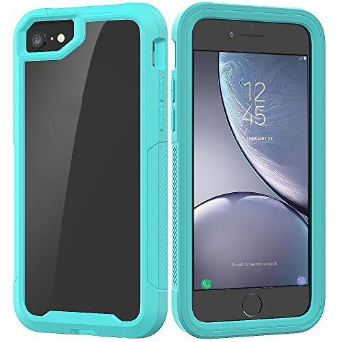 DongYuTongXi para iPhone SE 2020 y 8 y 7 Series Transparentes Marco TPU + PC Funda Protectora a Prueba de Golpes a Prueba de Golpes. (Color : Light Blue)