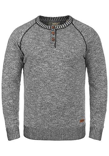 !Solid Thiago Herren Strickpullover Feinstrick Pullover Mit Rundhals Und Knopfleiste Aus 100% Baumwolle, Größe:M, Farbe:Black (9000)
