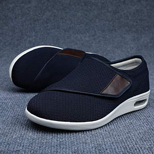 Nwarmsouth Pantuflas Pacientes diabéticos,Zapatos Sueltos de pies hinchados para Ancianos, Zapatos de enfermería Transpirables de gasa-48_Dark Blue,Zapato Ajustable y cómodo para la Diabetes