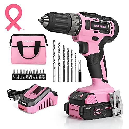 """WORKPRO 20V Pink Cordless Drill Driver Set, 3/8"""" Keyless Chuck, 2.0 Ah Li-ion Battery, 1 Hour Fast Charger and 11-inch Storage Bag Included"""