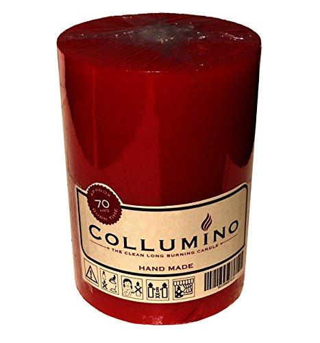 Vela en forma de columna de larga duración, para mesas de restaurantes, iglesias y bodas, de la marca Collumino, rojo vino, 7 x 10 cm