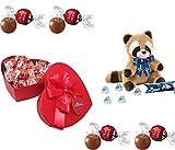 Scatola SAN VALENTINO rossa a forma di cuore con 250 gr di cioccolatini al latte LINDT + Peluche BACI PERUGINA orsetto lavatore con 37,50 gr di BACI perugina
