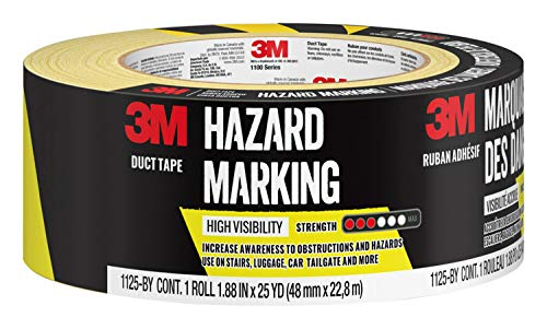 3M Hazard Marking Duct Tape, Black & Yellow, 1.88 inches by 25 yards, 1 roll