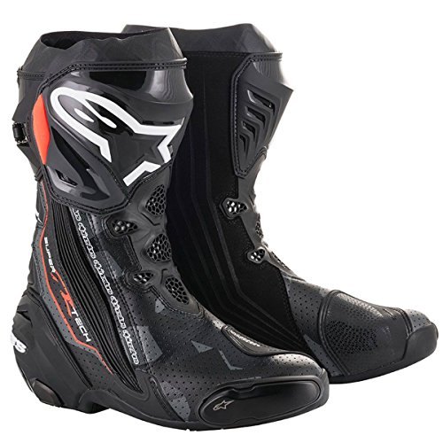 Alpinestars Botas de moto Supertech R Black Dark Gray Red Fluo, negro/gris/rojo, 43