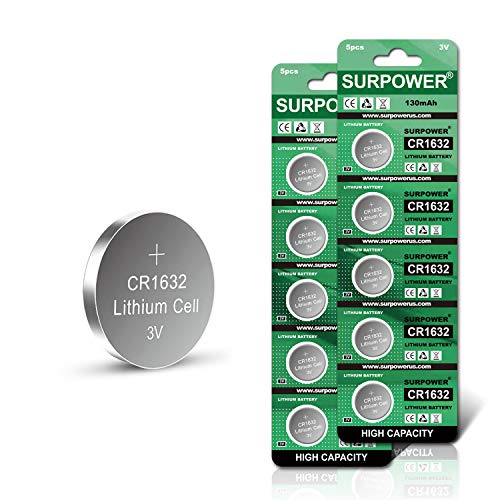 【5-Year Warranty】SURPOWER CR1632 3V Lithium Battery for Vivofit Jr Replacement CR 1632 Batteries -10 Pack