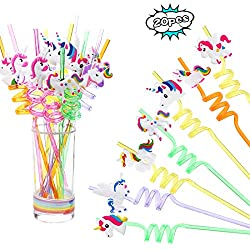 Unicorn twisty straws party favors