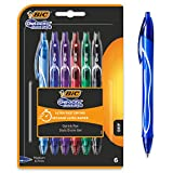 BIC Gel-ocity Quick Dry Bolígrafos de Gel de punta media (0,7mm) - Colores Surtidos, Blíster de 6 Unidades – Bolígrafo retráctil con tinta de secado ultrarrápido