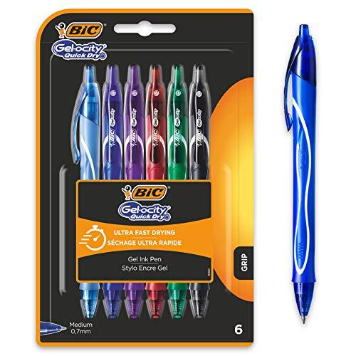 BIC Gel-ocity Quick Dry Bolígrafos de Gel de punta media (0,7mm) - Colores Surtidos, Blíster de 6 Unidades – Bolígrafo...