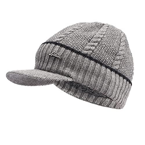 ManxiVoo Visor Beanie Hat Men's Outdoor Newsboy Hat Winter Warm Thick Knit Beanie Cap with Visor (Gray)