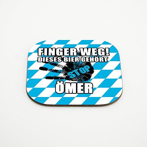Untersetzer für Gläser mit Namen Ömer und schönem Motiv - Finger weg! Dieses Bier gehört Ömer