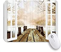 NIESIKKLAマウスパッド 木製ドックブリッジへの風景アートオープンウィンドウ ゲーミング オフィス最適 高級感 おしゃれ 防水 耐久性が良い 滑り止めゴム底 ゲーミングなど適用 用ノートブックコンピュータマウスマット